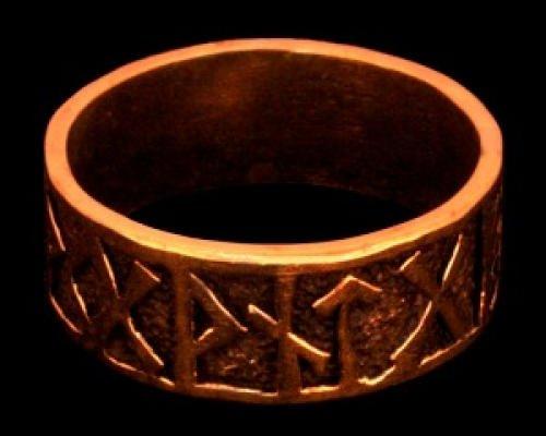 Battle-Merchant Runen Ring aus Silber verzierter Wikingerring Bronzering LARP Wikinger Mittelalter...