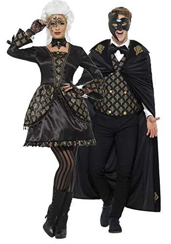 Fancy Me Couples da Donna e da Uomo Deluxe Black & Gold Masquerade Phantom Halloween Carnevale Costume Outfits