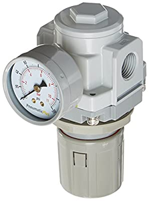 """PneumaticPlus SAR4000M-N04BG Air Pressure Regulator 1/2"""" NPT with Gauge & Bracket by PneumaticPlus"""
