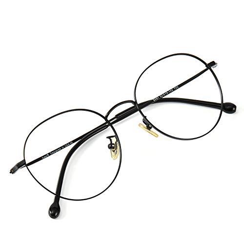 Cyxus(シクサズ)チタンメガネ 超軽量 ブルーライトカット(透明レンズ) パソコン用メガネ UVカット 目に優しい 度なし ファション 男女兼用(マットブラック)