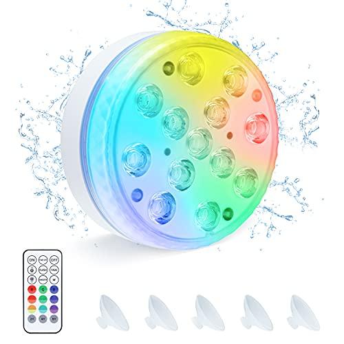 Luces Sumergible, OxyLED Piscina Luz LED Impermeables IP68 Con Remoto RF Multicolores LED Luz Sumergible para Acuario,Estanque,Bodas,Fiesta Jardín (1 PCS)