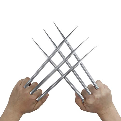 Costumeparty Superhero Claws Plastic Blade Figure Adult Halloween Costume Cosplay Props Silver, Large