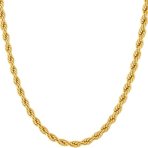 Lifetime Jewelry 4mm Rope Chain Necklace 24k Gold Plated for Men Women and Boys (Gold, 20)