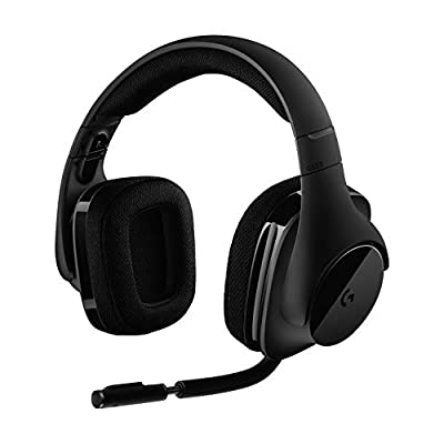 Logitech G533 Wireless Gaming Headset, 7.1 Surround Sound, DTS Headphone:X, 40 mm Pro-G Drivers, Noise-Cancelling Mic, 2.4 GHz Wireless, Lightweight, 15 h Battery Life, PC/Mac - Black from Logitech