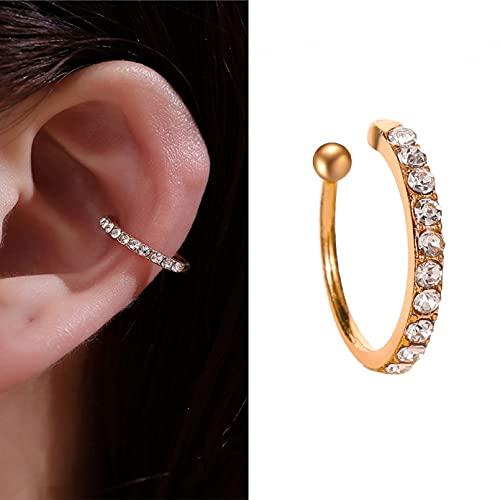 Owenqian Pendientes de Clip de Oreja no perforantes con Estrella de Oro y Luna para Mujer Clip de joyería de Brazalete de Oreja Boucle