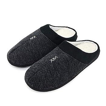 FUNKYMONKEY Men s Winter Warm Slippers Cashmere Upper Berber Fleece Lined Anti-Skid Comfort House Shoes  10 M US Balck