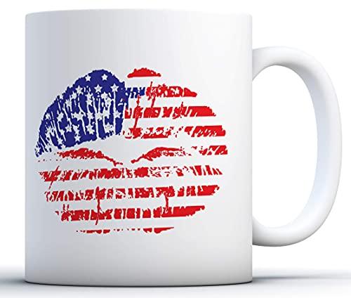 N\A Americano Lindo Beso Taza de café. Taza de la Bandera EE.UU. Labios con la Taza de la Bandera Americana