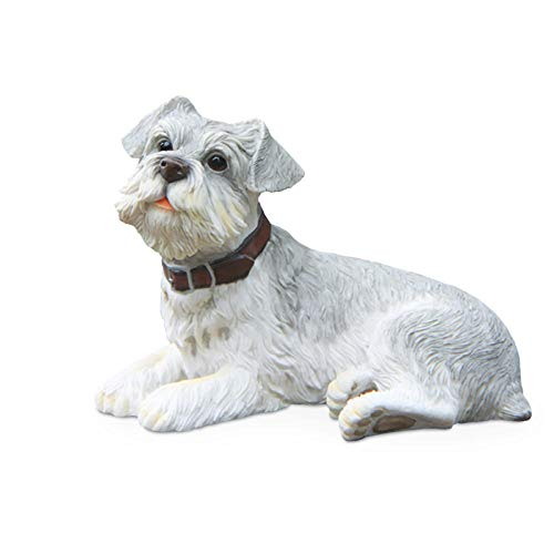 QIBAJIU Deko Statuestatue Gartenfigurstatuen Auffiguren Miniaturen Schnauzer Hund Duckender Hund Simuliertes Tiermodell Kunsthandwerk Dekoration Wandzubehör Ornament