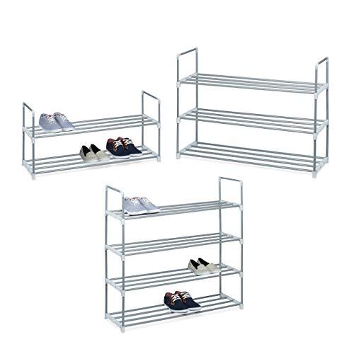 Relaxdays Schuhregal HBT: ca 45 x 90 x 30 cm Schuhschrank aus pulverbeschichtetem Metall mit 2 Ablagen als Schuhkommode und Schuhaufbewahrung beliebig erweiterbar Schuhablage für 8 Paar Schuhe, silber