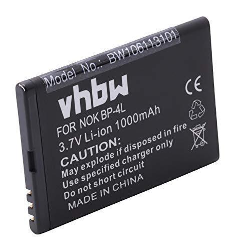vhbw Akku passend für ACE N4L120J, Nokia BP-4L, SVP C4D10T, N4D113J, Vertu BP-4LV Telefon, Handy ersetzt BP-4L, N4D113J (1000mAh, 3.7, Li-Ion)