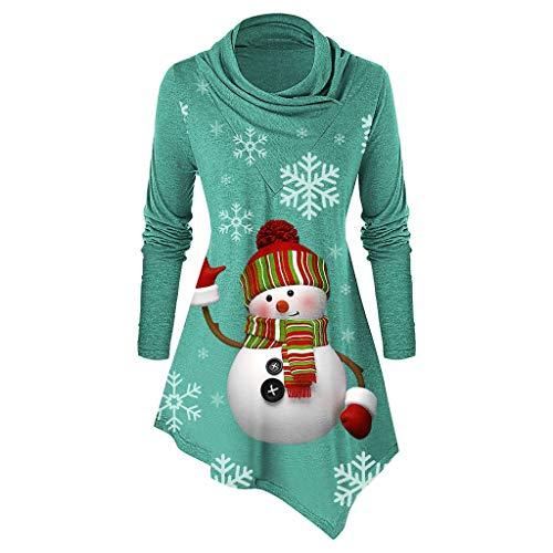 Vrouwen Kerst Cowl Collar Tops, Dames Lange Mouw Sneeuwvlok Printen Blouse T-Shirt, Casual Onregelmatige Bodem Tuniek Jumper Tops