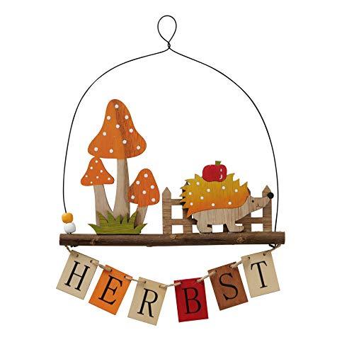 B&B Schriftzug Herbst Hänger Türdeko Holz Herbstdeko 27x20cm Igel Pilze rot orange Deko Igel Holz Türschmuck Fensterschmuck