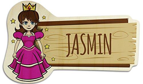 printplanet Türschild aus Holz mit Namen Jasmin - Motiv Prinzessin - Namensschild, Holzschild, Kinderzimmer-Schild
