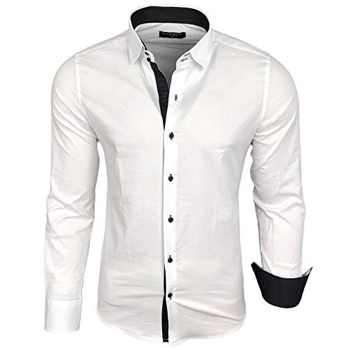 Baxboy Herren-Hemd Langarm/Business Freizeit Hochzeit/Bügelleicht/Slim-Fit/Anzug Kentkragen Hemd B-500, Größen:L, Farbe:Weiß - Schwarz