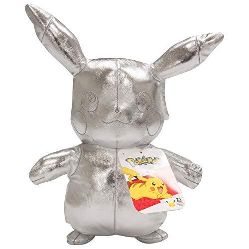 """Pokémon 25th Celebration 8"""" Silver Pikachu Plush - Limited Edition Shiny Silver Stuffed Animal Toy - 2+"""