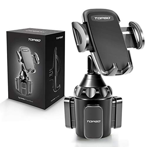 [Upgraded] Car Cup Holder Phone Mount Adjustable Automobile Cup Holder Smart Phone Cradle Car Mount for iPhone 12 Pro Max/XR/XS/X/11/8/7 Plus/6s/Samsung S20 Ultra/Note 10/S8 Plus/S7 Edge(Black)