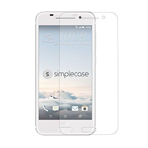 Simplecase Panzerglas passend zu HTC One A9S , Premium Bildschirmschutz , Schutz durch Extra Festigkeitgrad 9H , Hülle Friendly , Echtglas / Verb&glas / Panzerglasfolie , Transparent - 1 Stück