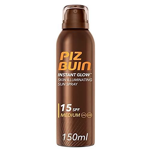 Piz Buin, Spray Solare Illuminatore della Pelle, Instant Glow, 15 SPF, Protezione Solare Media, Assorbimento Rapido, Non Contiene Autoabbronzante, 150 ml