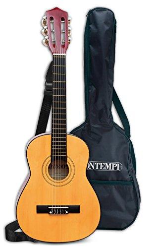 Bontempi 21 7521 Klassische Holzgitarre mit 6 Saiten. Stimmbar, braun