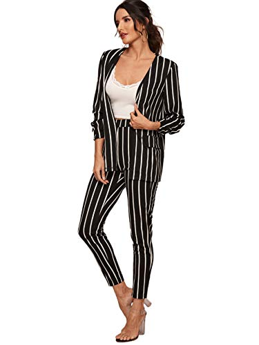 SheIn Women's Two Piece Plaid Open Front Long Sleeve Blazer and Elastic Waist Pant Set Suit Small Striped Black