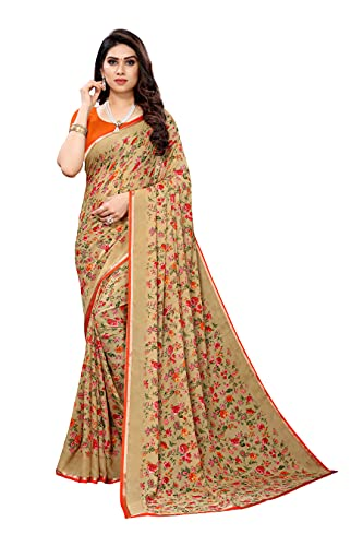 Yashika Women's Georgette With Lace Printed Saree With Blouse Piece(URJA LACE_Free Size)