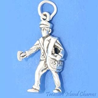 US Mail Mailman Postman Letter Courier 3D .925 Solid Sterling Silver Charm Ideal Gifts, Pendant, Charms, DIY Crafting, Gift Set from Heart by Wholesale Charms