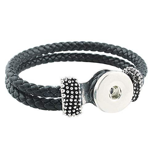 Pulsera Brazalete, Joyeria Regalo, Snap Bracelet Fashion DIY Charms Black PU Leather Bracelet&Bangles Fit 18Mm Snap Buttons Silver Jewelry For Women ZE060