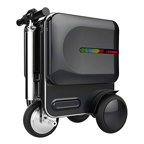 Save %29 Now! Rydebot Cavallo- Smart Motorized Scooter Rideable Suitcase/Luggage for Adults/Kids with Removable Battery, USB Charging Ports, Aluminum Alloy Frame, Bluetooth, TSA Lock, LED Lights, Black