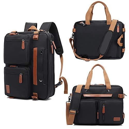 Fresion Aktentasche Umwandelbar Arbeitstasche Rucksack Herren - Messenger Bag 17,3 Zoll Laptoptasche Business Notebook Backpack Schultertasche Kuriertasche Mehrzweck Reisetasche (Nylon Schwarz)