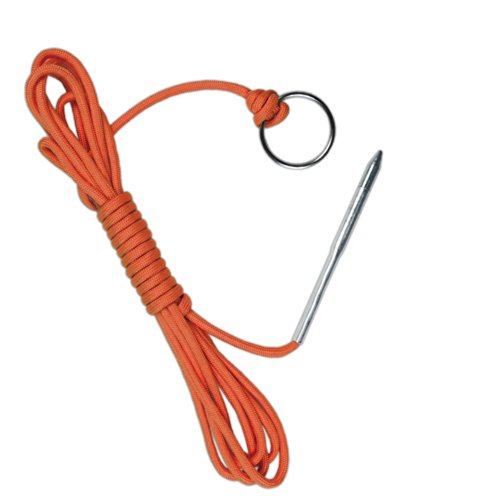 10 Foot 550lb Paracord Fishing Stringer Fish Holder with Metal Threading Needle and 1 Inch Split Ring (Neon Orange)