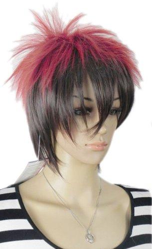 Qiyun Rouge Noir Mixte Multicolore Punk Spiky Raide Mixte Complete Cheveux Cosplay Anime Costume Perruque