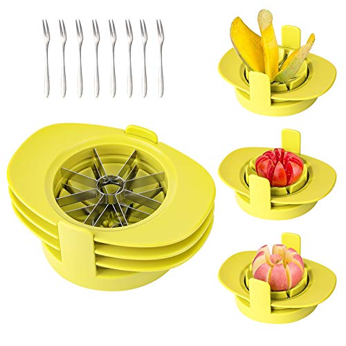 Apple Corer and Divider, GIPTIME 4-in-1 Mango Slicer Tomato Cutter with Common Base, Kitchen Fruit Corer Slicer Cutter with 8 Fruit Forks for Apple, Mango, Orange, Gift for Mother and Wife