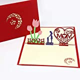 Pjzfsmyxgs ポップアップカード 3D 立体 手作り 飛び出す グリーティングカード 母の日 ギフト 贈り物 お祝い 贈り物 誕生日 フレセント 記念日 バースデー おしゃれ かわいい 和風 感謝 ポストカード レーザーカット 中空カード 封筒付き(best love)