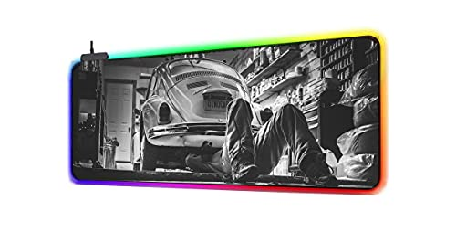Alfombrilla de ratón XXL RGB LED para ordenador, 800 x 300 x 4 mm, compatible con Volkswagen Beetle
