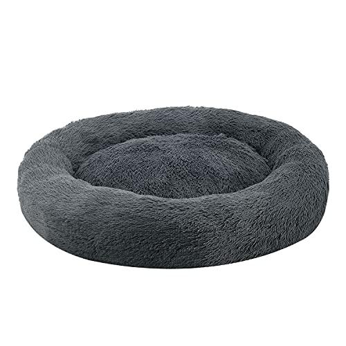 Juskys Haustierbett Monty XXL 100 cm – Hundebett rund für Hunde & Katzen – Katzenbett flauschig & waschbar – Hundekissen in Donut Form – Dunkelgrau