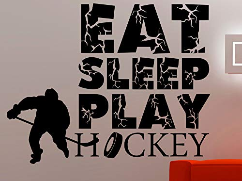 Eat Sleep Play Hockey Wandtattoos SportWandaufkleber SteuernDekor Wohnzimmer Kinder Jungen Zimmer SpielzimmerWandkunstVinyl Wandbild56X76 cm