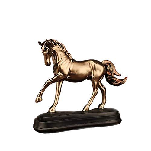Wsjfc Chinesische Feng Shui Pferdestatuen, Harzskulpturen Tischdekoration, Wohnkultur Ornamente für Wohlstand Erfolg Gute glückliche Einweihungsgeschenke Bronze 23x20x7cm (9x8x3inch)