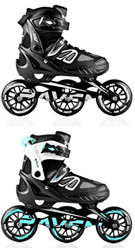RAVEN Inlineskates Inliner Advance Big Wheels verstellbar (Black/Mint, 38-42)