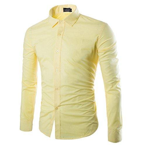 Camisas Slim Fit Hombre Camisa Básica Cuello Clásico Camisas de Vestir Formal Caballero Camisas Vestidos Entalladas Casuales para Hombres Camisetas Manga Larga Business Modernas Amarillo M