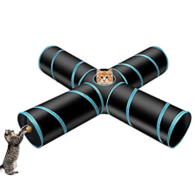 POHOVE Cat Tunnel Toy 4 Way Collapsible Tube Fun Play Toy Cat Toys Kitten Toys Gift with Pull Line Vibrate Little Fat Rat for Kitten, Rabbits, Small Animal