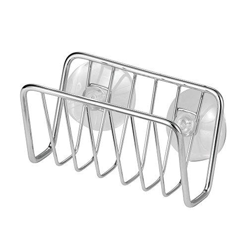 InterDesign Rondo porte-éponge, panier de rangement vaisselle en acier inoxydable pour éponges, torchons, etc., égouttoir avec ventouses, argenté
