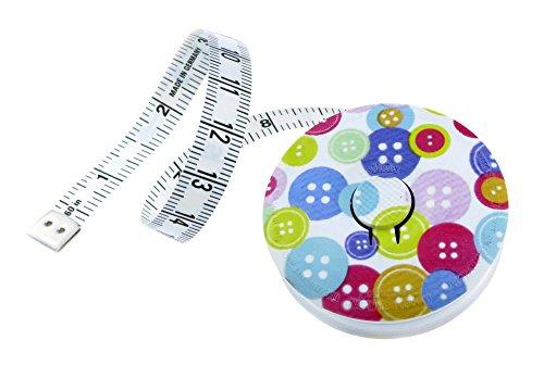 hoechstmass Balzer 80244d-knopf Rollmaßband rollfix Dekor mit Knöpfen, 150 cm / 60 Zoll, Größe 5 cm Maßband, ABS, Mehrfarbig, 5 x 5 x 1,4 cm