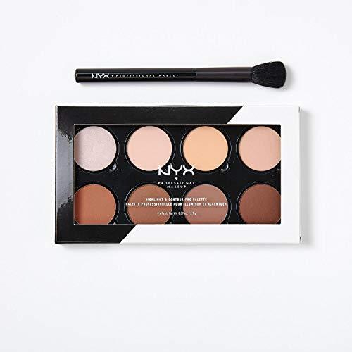 NYX Professional Makeup Set de Contouring, Highlight and Contour Pro Palette con Brocha para Maquillaje Pro Contour Brush, Ocho Tonos para Contornear Mates y Perlados Combinables