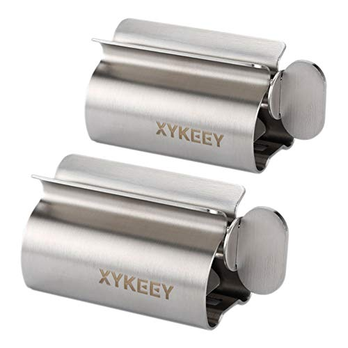 XYKEEY Toothpaste Tube Squeezer - Set of 2 Toothpaste Squeezer Rollers, Metal Toothpaste Tube Wringer Seat Holder Stand (Stainless Steel)