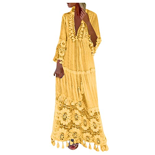 Lazapa Bohemian Dress for Women, V-Neck Long-Sleeve Tassel Large Size Long Lace Dress Fashion Casual Vacation Beach Dresses Ethnic Style Hollow Hem Tunic Dress
