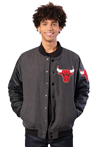 Ultra Game NBA Chicago Bulls Mens Full Zip Classic Varsity Jacket, Charcoal Heather, Large