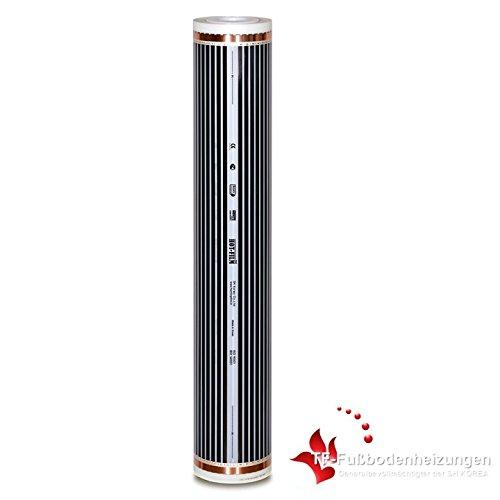 100 meter verwarmingsfolie 100 cm breed met 80 watt per m2 en max. 55 °C voor elektrische vloerverwarming.