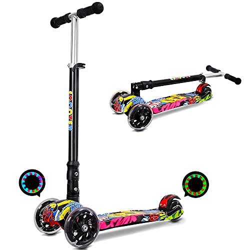 IMMEK Patinete infantil con ruedas LED de poliuretano, plegable, 3 alturas ajustables para niños y niñas de 3 a 12 años, peso máximo de 50 kg