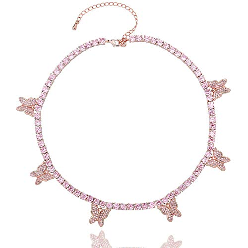 JINAO 6 times 14K 6 Times Gold Platinum Plated Butterfly Necklace Tennis Chain Butterfly Choker Bling Iced out CZ necklace Butterfly Necklace Silver Women (Rose Gold Butterfly Necklace)