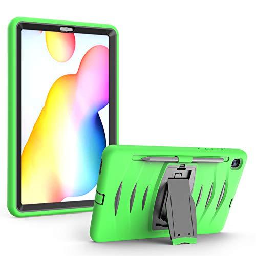 Funda para Galaxy Tab S6 Lite 10.4-Pulgadas (2020) SM-P610/P615, Cubierta Protectora Completa a Prueba de Golpes de Tres Capa con Soporte, Funda Robusta Antichoque,Green